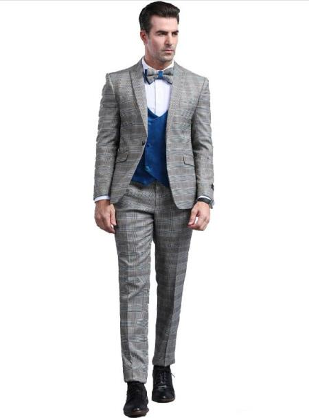 Mens Grey Slim Fitted Tapered Plaid Patterned Suit