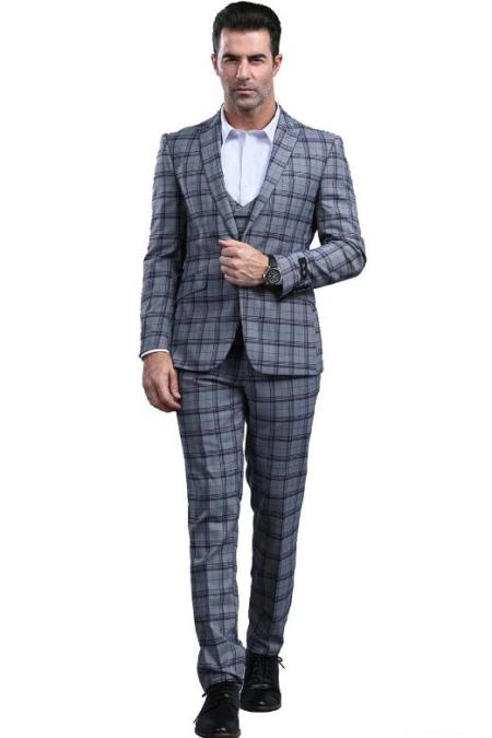 Dark Grey Slim Fitted Tapered Plaid - Window Pane Patterned Suit With Double Breasted Vest