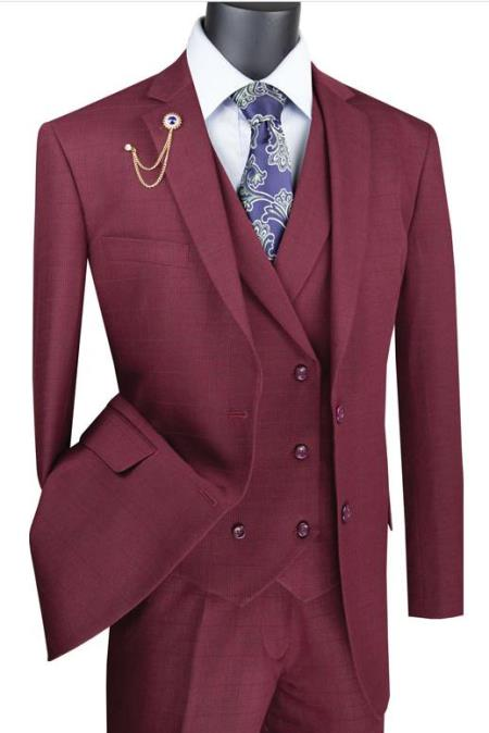 Burgundy Mens Single Breasted 2 Button Suit With Notch Collar Vest