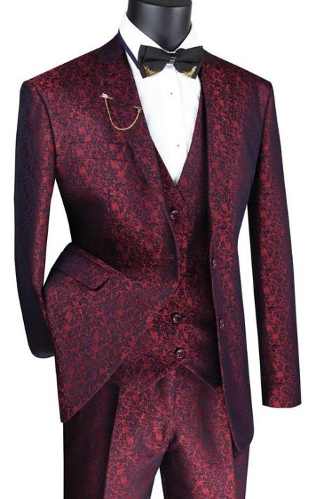 Paisley Floral Suit Ruby- Mens Flower Suit