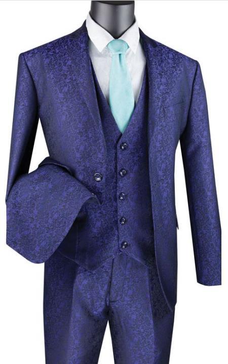 Paisley Floral Suit Navy - Mens Flower Suit