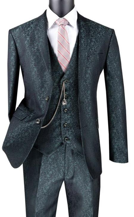 Paisley Floral Suit Pine - Mens Flower Suit