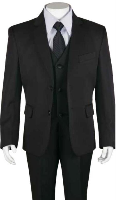 Boys Husky Suit Church Suit Black