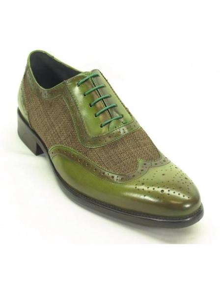 Mens Green Dress Shoes Mens Plaid Leather Wingtip Oxford Olive