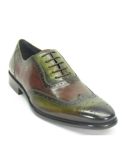 Mens Green Dress Shoes Mens Hand Paint Wingtip Medallion Oxford Olive/Brown