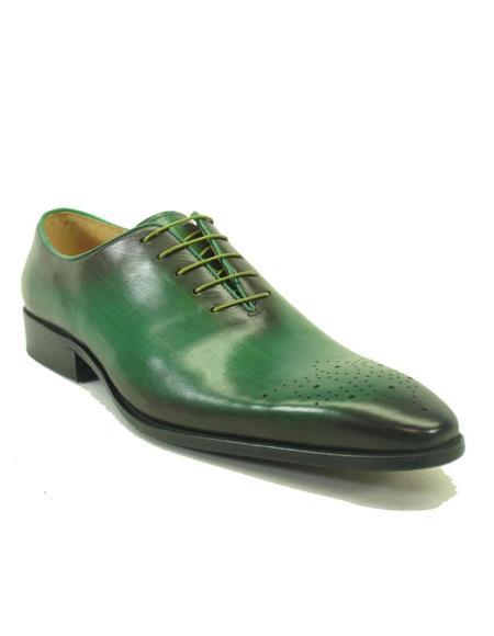 Mens Carrucci Shoes Mens Green Dress Shoes Mens Whole Cut Oxford - Olive