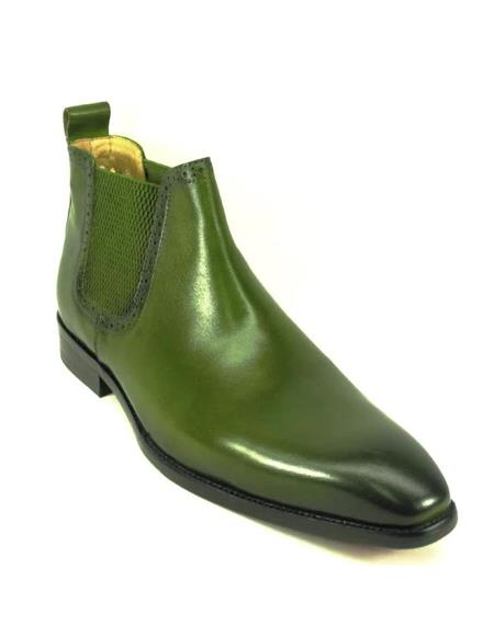 Mens Green Dress Shoes Mens Hand Burnished Chelsea Boots