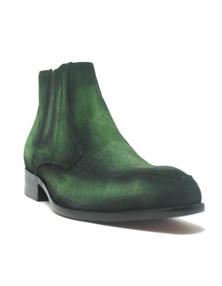 Mens Green Dress Shoes Mens Leather Suede Chelsea Boots Emerald