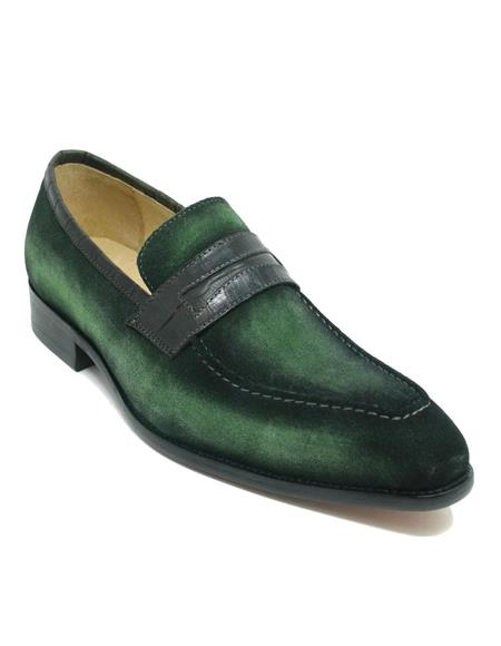 Mens Carrucci Shoes Mens Green Dress Shoes Mens Suede Penny Stylish Dress Loafer w/ Leather Trim Olive