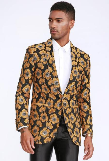 Black and Gold Blazer Slim Fit