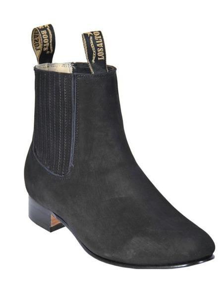 Black Los Altos Boots Mens Charro Botin Short Ankle Suede Boots