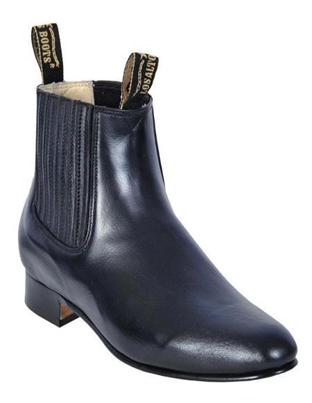 Black Los Altos Boots Mens Charro Botin Short Ankle Deer Leather Boots