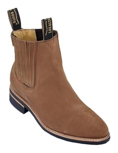 Shedron Los Altos Boots Mens Charro Botin Short Ankle Nubuck Leather Boots