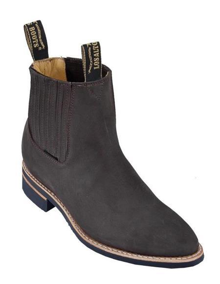 Tobacco Los Altos Boots Mens Charro Botin Short Ankle Nubuck Leather Boots