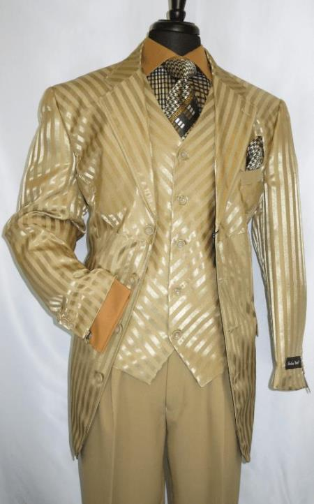 Mens Tan - Gold 5 Button Vest Church Business Suit