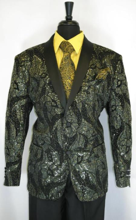 Mens Gold Suit - Perfect for Prom - Church Business Black - Gold