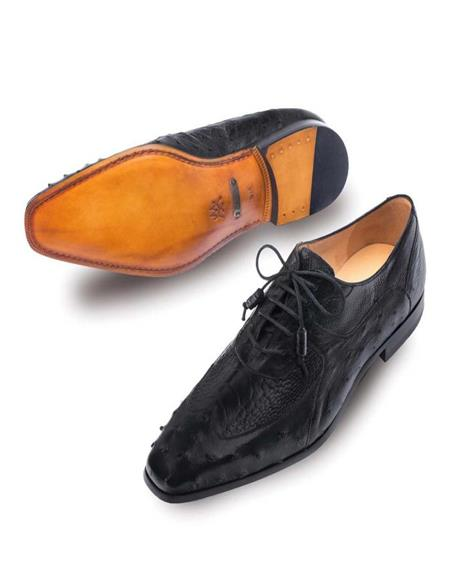 Mezlan Mens Getty Genuine Ostrich Black Classic Wing Tip Mens Lace Up Shoes