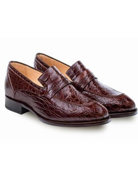 Mezlan Mens Genuine Crocodile Brown Classic Mens Stylish Dress Loafer