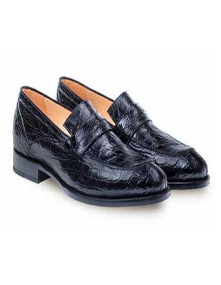 Mezlan Mens Genuine Crocodile Black Classic Mens Stylish Dress Loafer