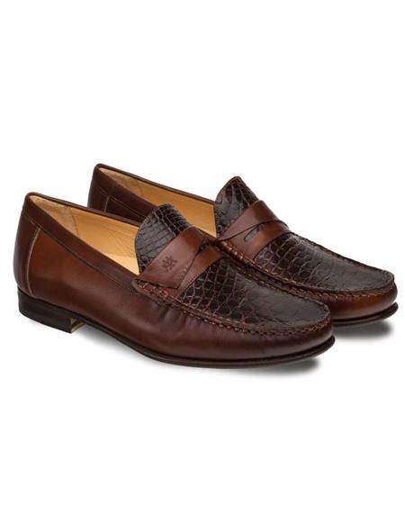Mezlan Mens Genuine Calfskin and Crocodile Brown Mens Slip On Stylish Dress Loafer