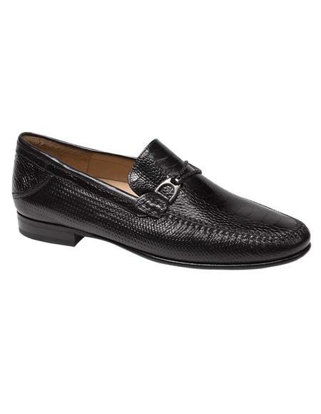 Mezlan Mens Black Nappa and Ostrich Leather Stylish Dress Loafer