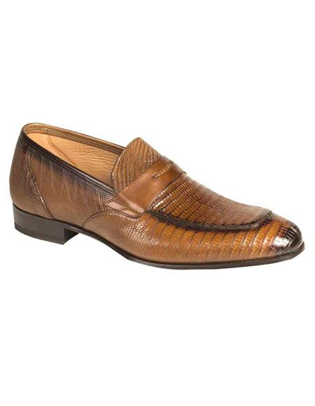 Mens Cognac Genuine Exotic Penny Loafers
