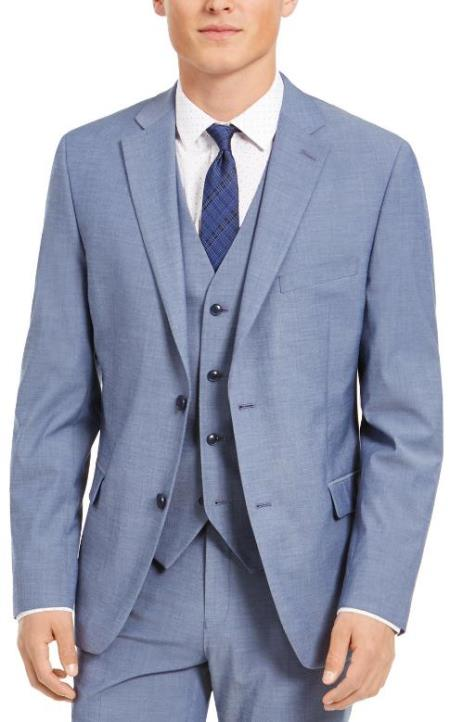Slim Fit 2 Button Light Blue - Steel Blue - Wool Wedding Suit  - Dusty Blue Suit