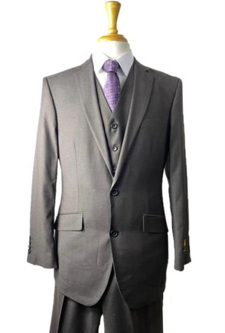 Mens Conservative - Plaid Windowpane 2 Button Vested Suit 100% Wool Fabric Black - Brown Mixed Color Modern Fit Side Vented