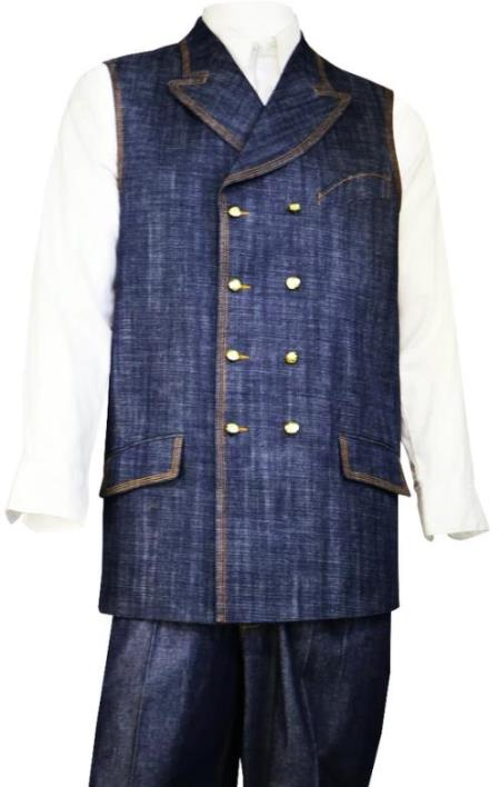 Denim Double Breasted Vest + Denim Jean Navy - Mens Denim 2 piece Set