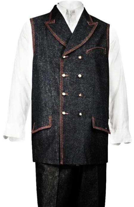 Denim Double Breasted Vest + Denim Jean Black - Mens Denim 2 piece Set