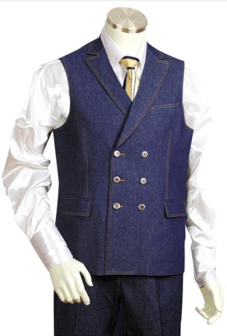 Denim Double Breasted Vest + Denim Jean Blue - Mens Denim 2 piece Set