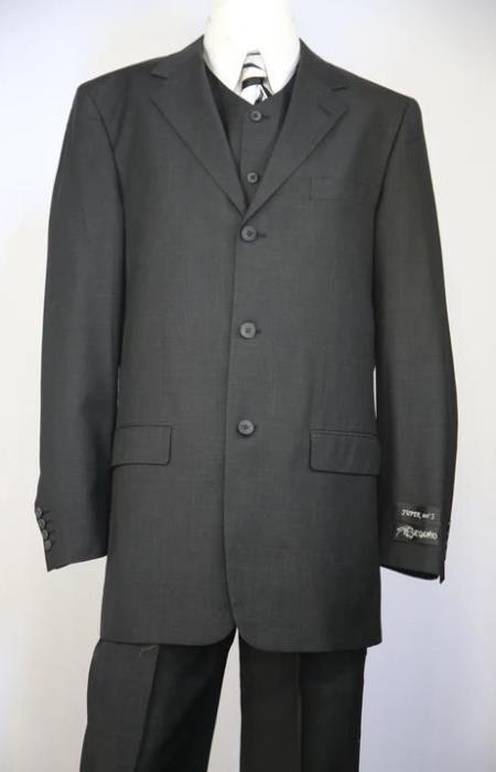 3 Button Suit Classic Fit Athletic Fit Pleated Pants Black