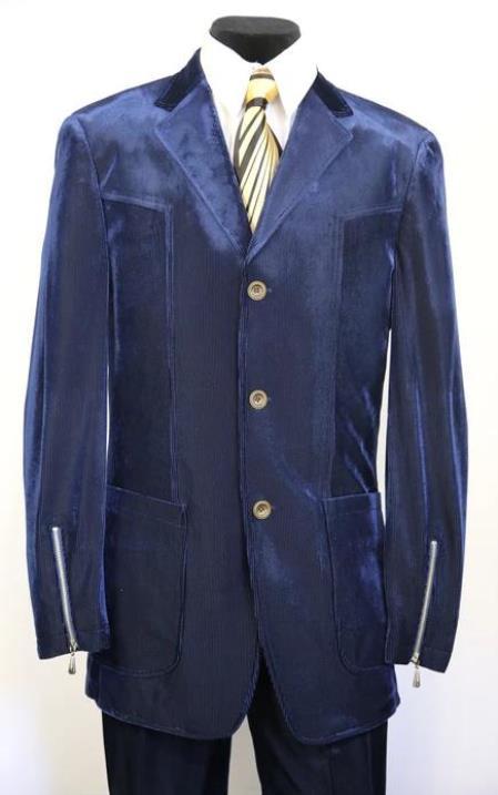 3 Button Suit Classic Fit Athletic Fit Pleated Pants Blue