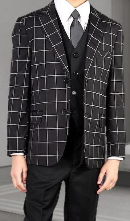 Boys 3 Piece Suit - Black Windowpane