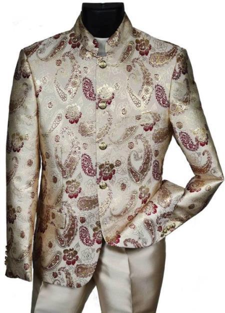 Cream With Burgundy Pattern Mandarin Banded Collar Paisley Suit - IvoryOff White Tuxedo Burgundy Tuxedo