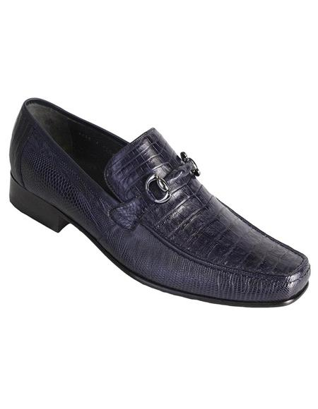 Mens Navy Genuine Caiman Belly and Lizard Slip On By Los Altos