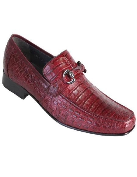 Mens Burgundy Genuine Caiman Crocodile Belly Slip On By Los Altos