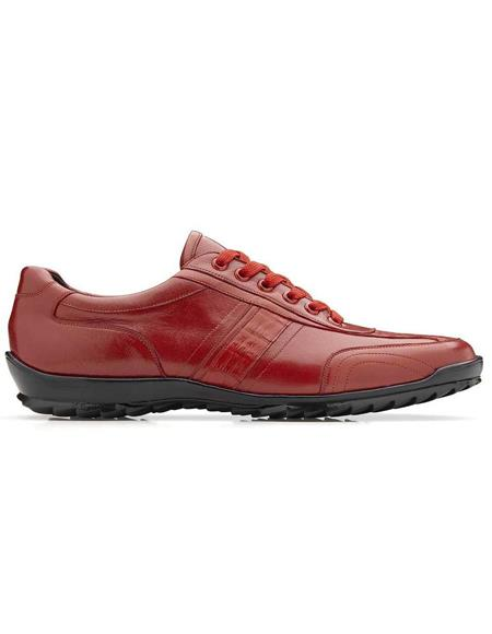 Mens Sneaker Red Genuine Caiman and Soft Calf