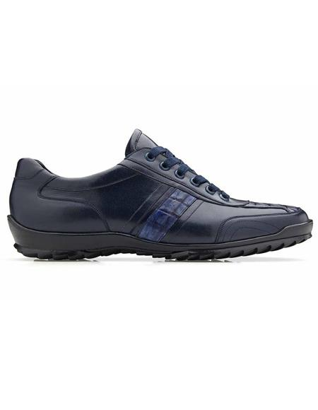 Mens Sneaker Navy Genuine Caiman and Soft Calf