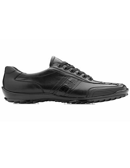 Mens Sneaker Black Genuine Caiman and Soft Calf