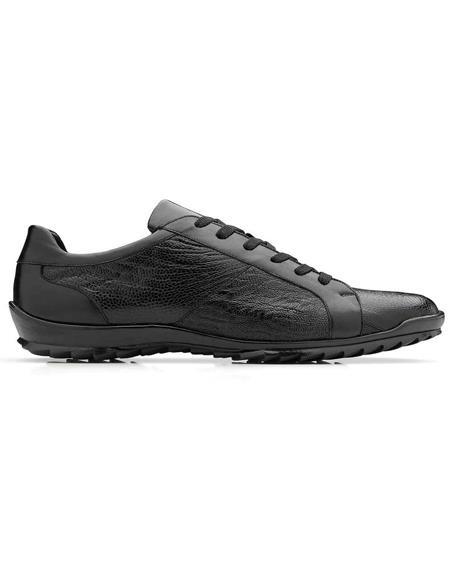 Mens Sneaker Black Genuine Ostrich and Soft Calf