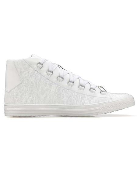 Mens Sneaker White Genuine Crocodile and Italian Calf