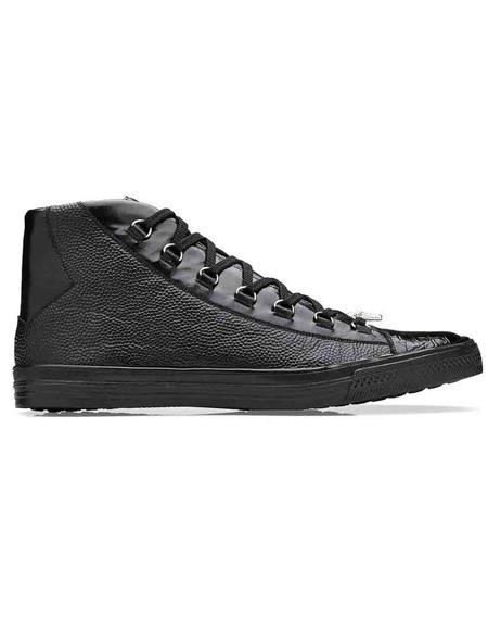 Mens Sneaker Black Genuine Crocodile and Italian Calf