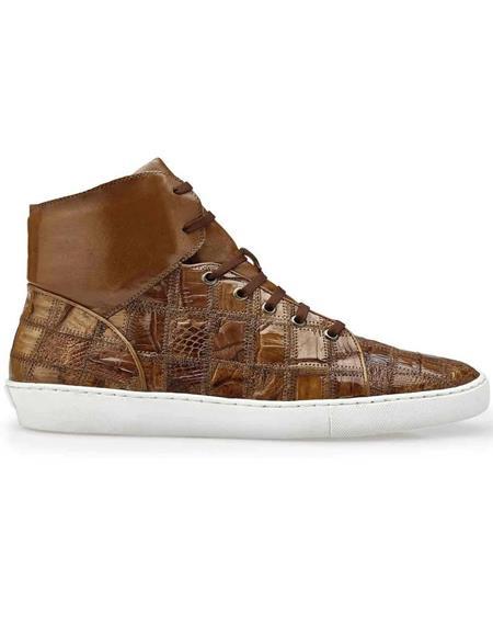Mens Sneaker Honey Genuine Patchwork Crocodile