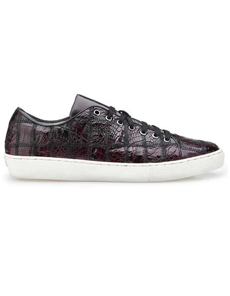 Mens Sneaker Black Cherry Genuine Crocodile