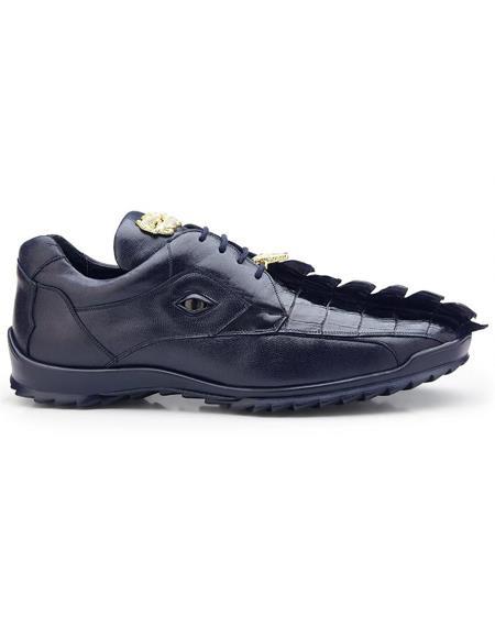 Mens Sneaker Night Blue Crocodile and Calfskin