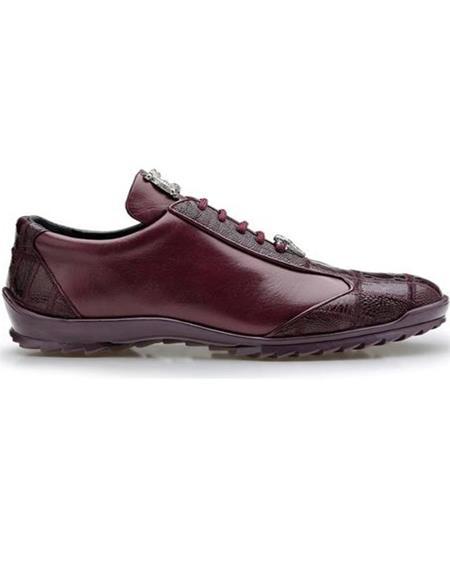 Mens Sneaker Burgundy Ostrich and Calfskin