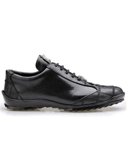 Mens Sneaker Black Ostrich and Calfskin Leather