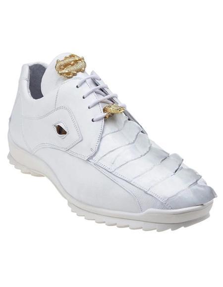Mens Sneaker White Ostrich and Soft Calfskin