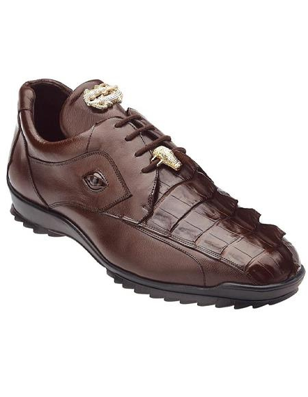 Mens Sneaker Tabac Brown Crocodile and Soft Calfskin